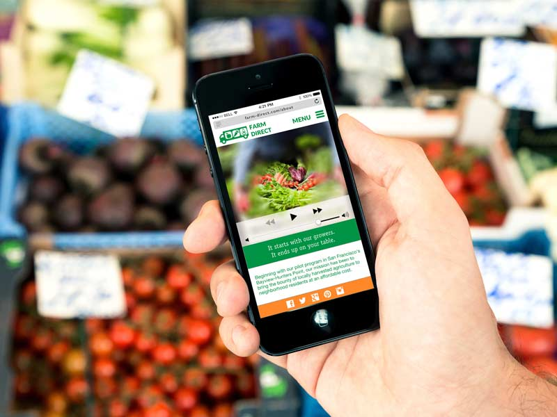 Mobile Phone with Farm Direct App on Screen